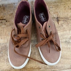 Keds brown leather lace up sneakers